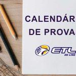 Calendário de Provas Mensais e Bimestrais - 2º bimestre - ETL